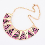 Pink zebra enamel necklace