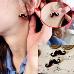 Enamel mustache earrings