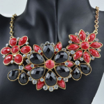 Black and red statement flower necklace