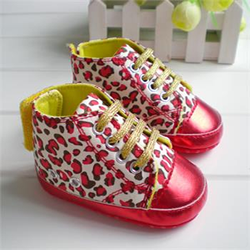 red leopard baby shoes