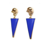 blue triangle skull earrings